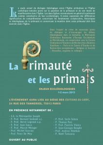 1-2 mars 2013, colloque à Paris: La primauté et les primats - enjeux ecclésiologiques